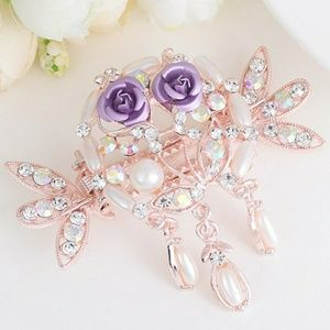 Accessories - Tiny Rose Embellished Rhinestone Inlay Hairgrip